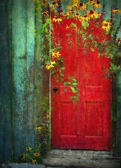 Doors – Locks – Keys – Windows ' Behind The Red Door' Poster by pat gamwell Cool Doors, The Doors, Unique Doors, Windows And Doors, Bay Windows, Front Doors, When One Door Closes, Painted Doors, Closed Doors