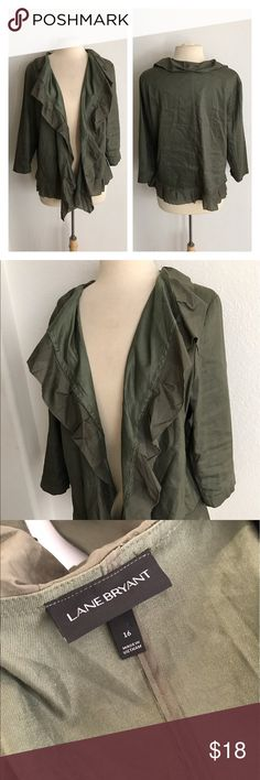 """Lane Bryant jacket/ cardigan Lane Bryant hunter green jacket/ cardigan. Size 16. Measures 24"""" long with a 40"""" bust. Slightly longer on the sides. Elbow length sleeves. Would work best for 14/16. This has some minor pilling/ signs of wear. Categorizing under jackets since it's more of a lightweight jacket  🚫NO TRADES 💲Reasonable offers accepted 💰Ask about bundle discounts Lane Bryant Jackets & Coats"""