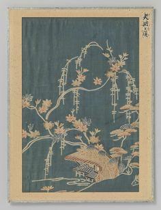 Anonymous | Textielfragment, Anonymous, 1781 - 1789 | Textielfragment, druk van een huisje met herfstbladeren op blauwgroene achtergrond.