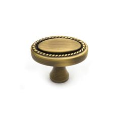 This Antique Brass Finish Cabinet Knob With Rope Edge Oval Face Is Part Of  The Rope
