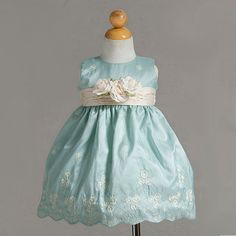 Mint Easter Baby Dress with a Sprinkle of Flowers