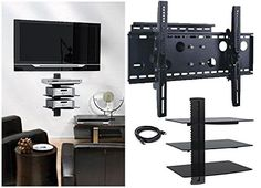 2xhome  NEW TV Wall Mount Bracket Single Arm  Three 3 Triple Shelf Package  Secure Cantilever LED LCD Plasma Smart 3D WiFi Flat Panel Screen Monitor Moniter Display Large Displays  Long Swing Out Single Arm Extending Extendible Adjusting Adjustable  Triple 3 Tier Under TV Tempered Glass Floating Hanging Shelves Shelving Unit Rack Tower Set Bundle  Full Motion 15 degree degrees Tilt -- Details can be found by clicking on the image.