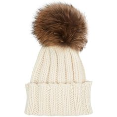 Inverni Cream Cashmere Fur Bobble Hat (2 135 SEK) ❤ liked on Polyvore featuring accessories, hats, fox hats, bobble beanie, bobble beanie hat, fur hat and bobble hat