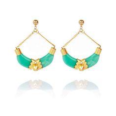 Green half tusk stud drop earrings - earrings - jewelry - women