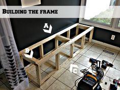 build a corner banquette bench frame, Pinterior Designer featured on Remodelaholic