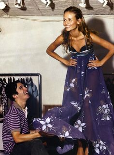 Love this navy & white sheer print. The beginnings of an amazing dress. [Natasha Poly being fitted for Proenza Schouler] Natasha Poly, Inspiration Mode, Fashion Inspiration, Fashion History, Fashion Editorials, Dress Me Up, Pretty Dresses, Street Styles, Editorial Fashion