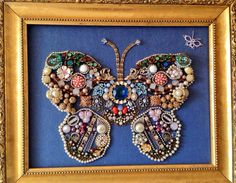 Heirloom Jewelry from pinner's  Grandmother & mother made into a Lovely Butterfly Picture.