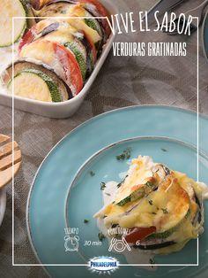 ¡Una receta de la que te vas a enamorar! #recetas #quesophiladelphia #verduras #calabazas #berenjenas #gratinadas