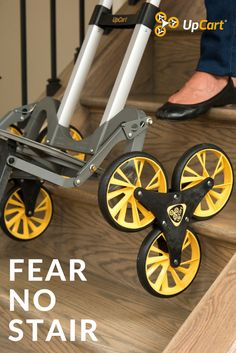 The UpCart Lift allows you to haul up to 200lbs up and down stairs, and over uneven surfaces. This powerhouse of a hand truck is lightweight, easy to maneuver, and is the first of its kind to offer an all-terrain stair climbing chassis, 50-inch adjustable handle, easy-to-hold grip, and custom dual-coated rubber tires.
