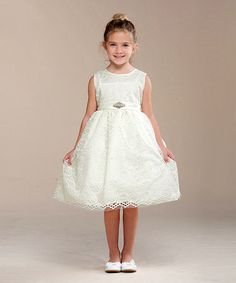 Love this Ivory Lace-Overlay A-Line Dress - Toddler & Girls on #zulily! #zulilyfinds