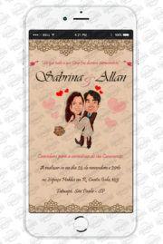 Convite Virtual de Casamento Caricatura para envio por WhatsApp. Apenas 18,00, compre em nosso site www.whatsappconvites.com.br