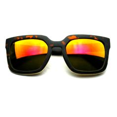 Horned Rim Block Hipster Flash Revo Thick Keyhole Sunglasses