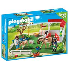 Gallop into lots of fun with the PLAYMOBIL Horse Paddock Super Set. With white picket fencing and stable area, this paddock offers a safe haven for recuperating horses. Use the adhesive bandages to patch up any wounds, while the vet examines the young foal. Groom and care for the horses on the mend with the brushes and various grooming tools.