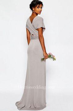 17405258 Sheath V-Neck Sash Floor-Length Short-Sleeve Chiffon Bridesmaid Dress