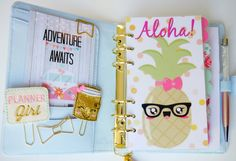 Aloha! Pineapple Personal, A5 & Pocket Planner Dashboards