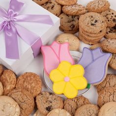 Tulips and Daisy Signature Cookie Gift Box 12 Pc ** Details can be found by clicking on the image.