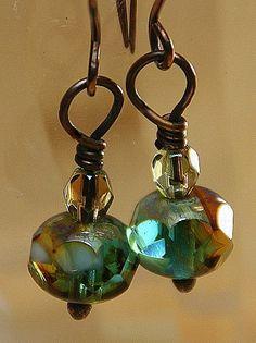 Caramel Skies Czech Glass Beaded Copper by AllowingArtDesigns, $14.00
