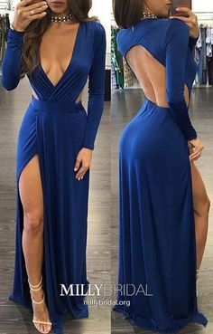 Elegant Prom Dresses, Sheath Deep V-neck Slit Leg Open Back Sexy Royal Blue Prom Dress Shop for La Femme prom dresses. Elegant long designer gowns, sexy cocktail dresses, short semi-formal dresses, and party dresses. Royal Blue Evening Dress, Royal Blue Prom Dresses, Blue Evening Dresses, Prom Dresses Long With Sleeves, Prom Dresses With Sleeves, Backless Prom Dresses, A Line Prom Dresses, Sexy Dresses, Evening Gowns