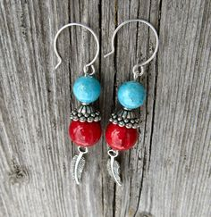 Southwestern earrings turquoise red silver feather by MontanaMagic, $16.00