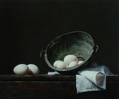 "Saatchi Art Artist Roman Reisinger; Painting, ""Still life with white eggs and oxidized kettle"" #art"