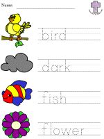Creation picture clue read and trace worksheets