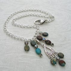 Chandelier Necklace with Jasper and Quartz by adiencrafts on Etsy,