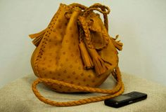 Pouch Bag Hand Crafted Cow Leather Handmade Chain by HandyHochShop, $55.00
