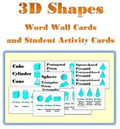 3D Shapes Word Wall cards and Student Activity Cards