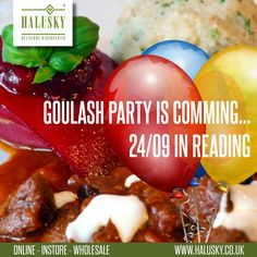 Don't forget about the #GoulashParty in Reading. If you would like to buy some tasty #Czech and #Slovak products, you can order them in Halusky.co.uk shop and collect during the event. Těšíme se na Vás!