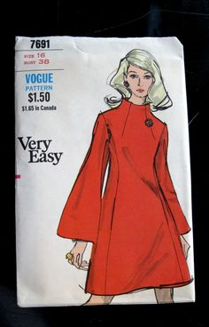 1960s MOD Dress Bell Sleeves Pattern Bust 38 Vogue by QuiltCitySue, $26.00