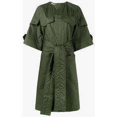 Marni Military Shirt Dress ($1,015) ❤ liked on Polyvore featuring dresses, short sleeve dress, shirt dresses, long shirt dress, cotton shirt dress and t-shirt dresses