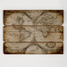 One of my favorite discoveries at WorldMarket.com: Wood Wall Map.  Wish there was a DIY option.