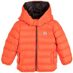 ARMANI NEWBORN Baby Boys Bright Orange Down Padded Jacket