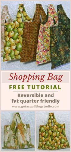 Quick and easy shopping bag tutorial - reversible and fat quarter friendly. via @getagrama