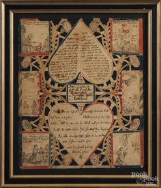 """Ink and watercolor scherenschnitte, dated 1793, with two large hearts with script surrounded by six allegorical scenes, 15"""" x 12 1/2""""."""