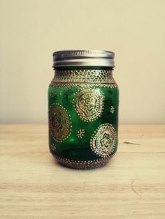 Hand Painted Henna inspired vase / jar with gold by TheArtStreet, $22.00