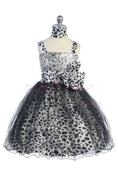 White/Black Animal Print Girl Mini Flower Girl Dress