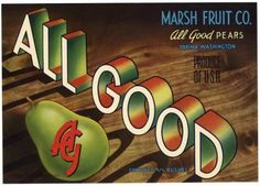 ALL GOOD Vintage Yakima Pear Crate Label