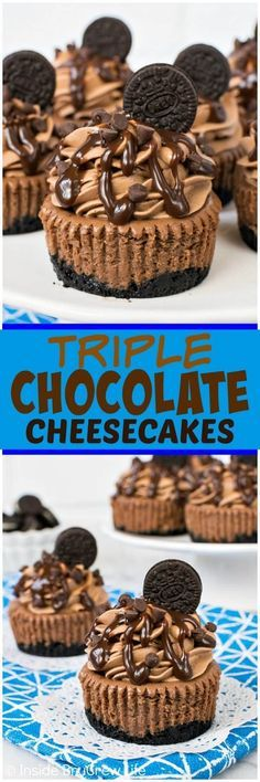 Mini Triple Chocolate Cheesecakes - putting chocolate into every layer of these . Mini Triple Chocolate Cheesecakes - putting chocolate into every layer of these mini cheesecakes makes them absolutely dreamy! Great recipe for chocolate lovers! Mini Desserts, Easy Desserts, Delicious Desserts, Rainbow Desserts, Triple Chocolate Cheesecake, Chocolate Desserts, Chocolate Lovers, Cupcake Recipes, Cupcake Cakes