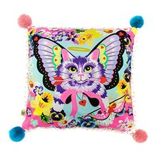 Cuddle up with this soft and bright IC cushion and you'll never leave the comfort of your sofa again. A bold print adorns the front and back and is trimmed with teeny pom pom's and larger pom pom details on the corners. Cat Purse, Irregular Choice, Here Kitty Kitty, Bold Prints, Red Leather, Fashion Art, Cushions, Throw Pillows, Accessories