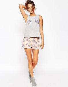 Image 4 ofASOS Crown Boobs Vest & Short Pyjama Set