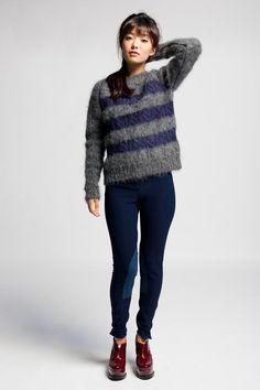 $195 Reale London Mohair Stripe Knit #stripe #fuzzy #sweater #cozy #boyfriend #reale
