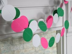 These paper garlands could not be any more FUN!!    What are they?----    They are approx. 10 feet of circles all sewn together. I made them