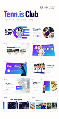 Presentation Templates, Presentation Slides, Presentation Design, Ppt Design, Graphic Design Trends, Web Design Inspiration, Tennis Clubs, Sports Templates, Social Media Design