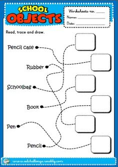 SCHOOL OBJECTS WORKSHEET http://eslchallenge.weebly.com/english-yes-1.html