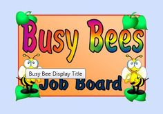 Job board to go with classroom theme