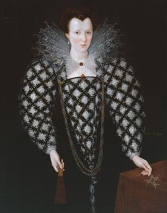 'Portrait of Mary Rogers, Lady Harington', 1592, Marcus Gheeraerts II; she holds a string of pearls threaded into a shape of four knots resembling the 'Harington knots' that feature in the Harington heraldic arms; the black-and-white pattern on her sleeves and bodice also echo the arms. (Tate)