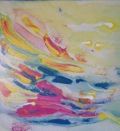Fuschia Blue Yellow Ocean Floor Coral Reef Sea Swirls Dots Abstract Impressionism Expressionism 12 x 12 acrylic by JOYdaARTE on Etsy