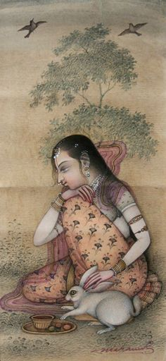 Lady with rabbit by Mahaveer Swami, contemporary Bikaner style.