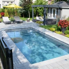 If you are working with the best backyard pool landscaping ideas there are lot of choices. You need to look into your budget for backyard landscaping ideas Backyard Pool Landscaping, Small Backyard Pools, Backyard Patio Designs, Small Pools, Swimming Pools Backyard, Swimming Pool Designs, Outdoor Pool, Piscina Rectangular, Small Inground Pool